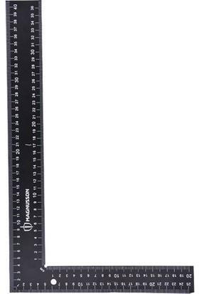 Magnusson Çelik Gönye Metal Cetvel 2,5mm Kalın Metal Siyah