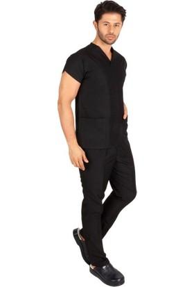 Erkek Doktor Hemşire Forması Scrubs Alpaka Kumaş Hastane Nöbet Takımı (Zarf Yaka Yarasa Kol)