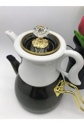 Dufy Sadem Emaye Porselen Çaydanlık 2,3 Litre Siyah