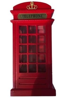 YLZ Yeliz Home Ahşap Telefon Kulübesi Kumbara 23 cm