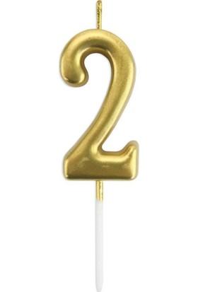 Organizasyon Pazarı Gold 2 Rakam Mum Doğum Günü Mumu Pasta Mumu 12x3 cm