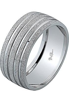 Gümüş Pazarım 8 mm Simli Şeritli Gümüş Kadın Alyans
