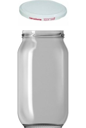 Paşabahçe Cam Kavanoz 1000 cc Beyaz Kapaklı 6 Adet Konserve