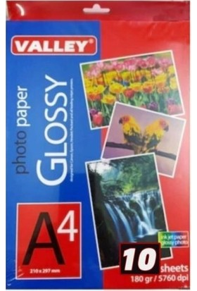 Valley Glossy A/4 Fotoğraf Kağıdı 240 gr / 2880 Dpi 10'lu Paket