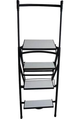 Metal Katlanır Merdiven Sandalye Mutfak Sandalyesi Basamaklı Merdiven Sandalye