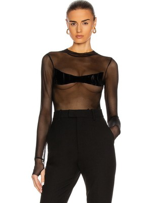 By Umut Design Transparan Kadife Detaylı Tül Bodysuit