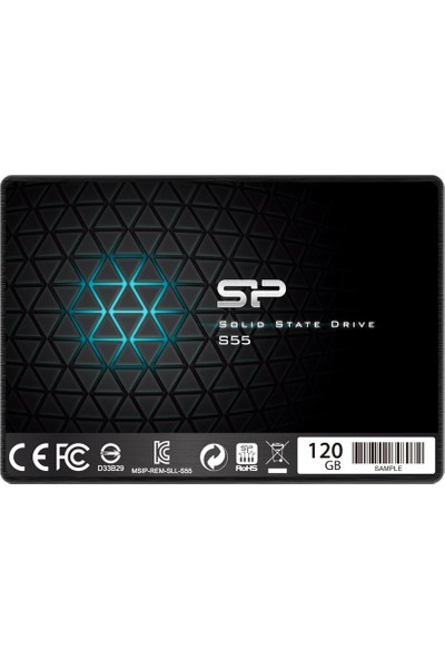 "Silicon Power S55 SP120GBSS3S55S25 120 GB 2.5"" SSD Sata 3.0 550-420Mb/s 7mm Ultra Slim"