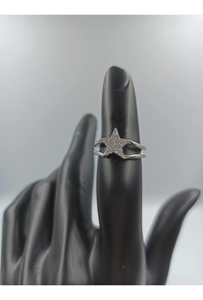 Çağlar Zirkon Taşlı Yıldız Desenli Ayarlanabilir Gümüş Yüzük