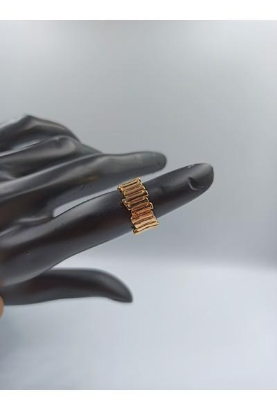 Çağlar Çit Desenli Gold Kaplamalı Yüzük
