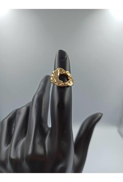 Çağlar Doğal Şekilli Gold Kaplama Yüzük