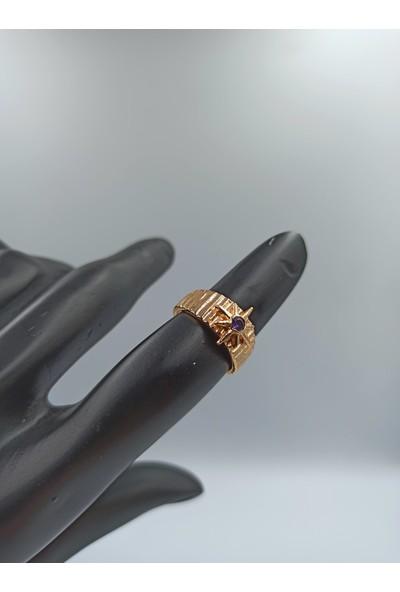 Çağlar Zirkon Taşlı Mor Kristalli Gold Kaplama Yüzük