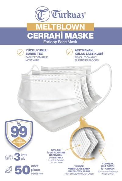 Turkuaz 3 Katlı 50 Adet Cerrahi Maske Filtreli Burun Telli Yumuşak Elastik Kulaklı Beyaz Renk