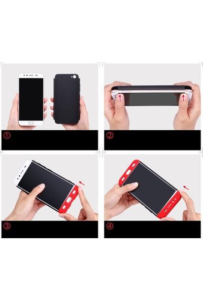 Magazabu Apple Iphone 7 Plus Kılıf Ays Tam Koruma Kapak + Nano Ekran Koruyucu- Siyah - Kırmızı