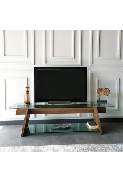 Neostill - Ahşap Tv Sehpası Woodn Glass TV202