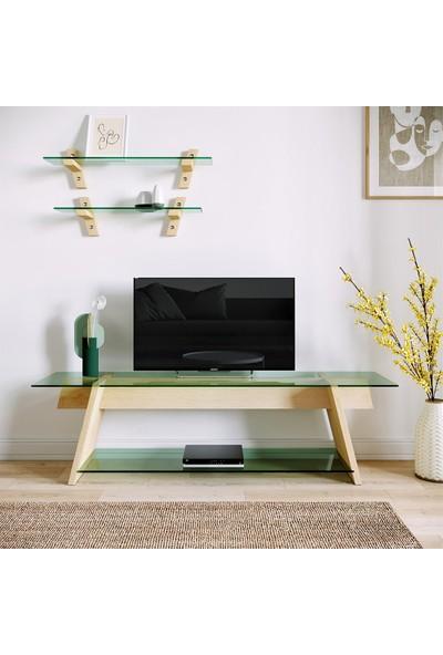 Neostill - Ahşap Tv Sehpası Woodn Glass TV203