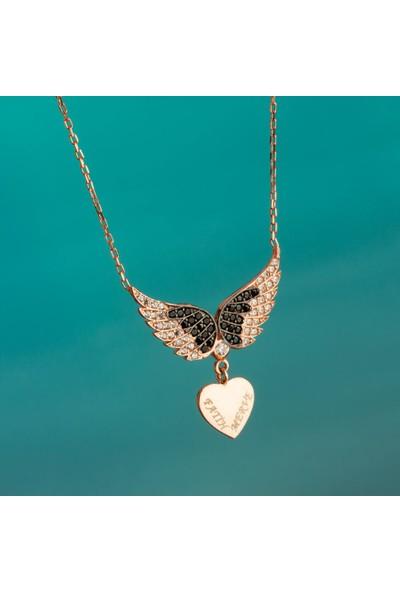 Anı Yüzük Kalpli Melek Kanadı Kadın Gümüş Kolye