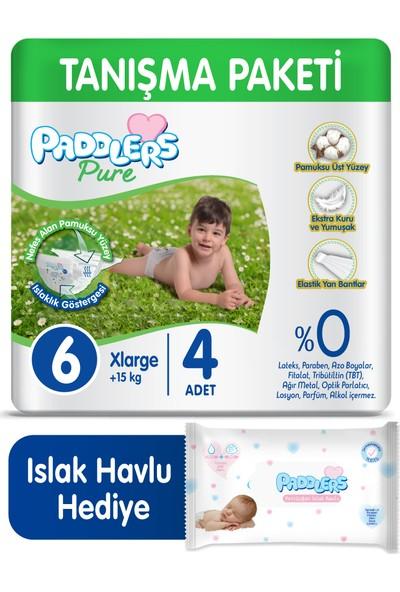 Paddlers Pure Bebek Bezi 6 Numara X-Large 4 (15+Kg) + 40'lı Islak Havlu
