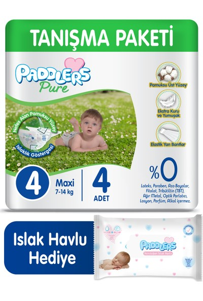 Paddlers Pure Bebek Bezi 4 Numara Maxi 4 (7-14 Kg) + 40'lı Islak Havlu