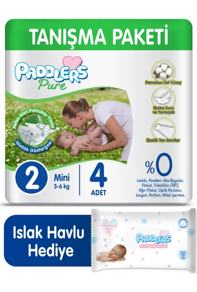 Paddlers Pure Bebek Bezi 2 Numara Mini 4 (3-6 Kg) + 40'lı Islak Havlu