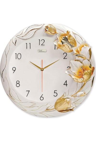 Regal ULTIMA1010 W Kabartma Çiçek Desenli Duvar Saati