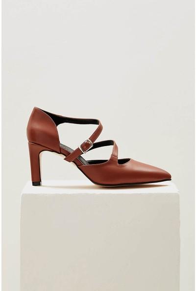 Mio Gusto Alegra Taba Çift Bantlı Topuklu Ayakkabı