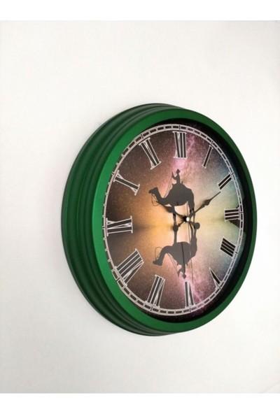 Bahat Salon Ofis Duvar Saati Yeşil Alüminyum Çerçeve 40 cm Camlı