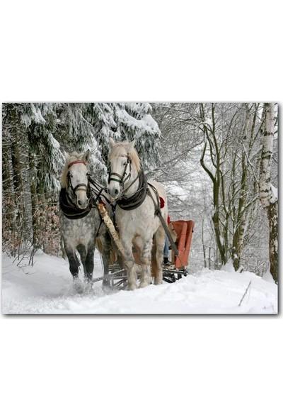 Caka Tablo Ahşap Tablo Karda Kızak Çeken Bir Çift At