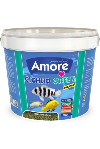 Amore Cichlid Green 3 kg Kova + Amore Veggie Garlic Pro Chips 250ML Kutu Akvaryum Balık Yemi
