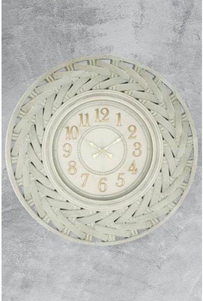 Revello Hasır Beyaz Eskitme Duvar Saati 58CM