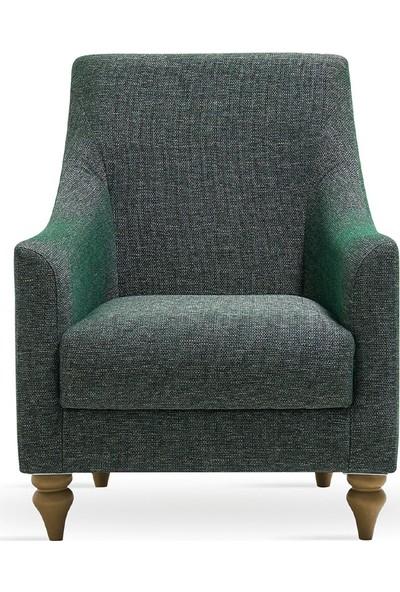 Enza Home Rattan Plus Koyu Yeşil Berjer - Keten Görünümlü Kumaş