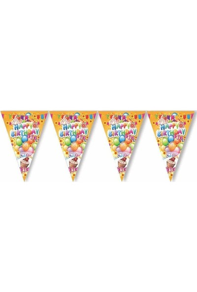 Kullanatparty Renkli Happy Birthday Üçgen Flama