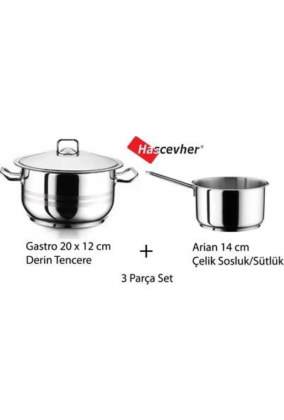 Hascevher Gastro 3,5 lt 20 x 12 cm Çelik Tencere + Arian 1,5 lt 14 cm Sosluk & Sütlük Seti
