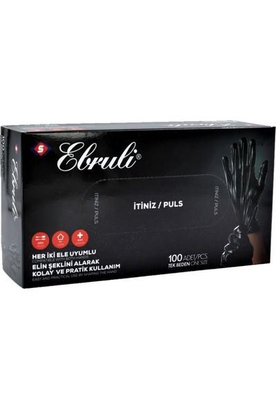 Ebruli Pe Siyah Pudrasız Tek Kullanımlık Eldiven 100'LÜ