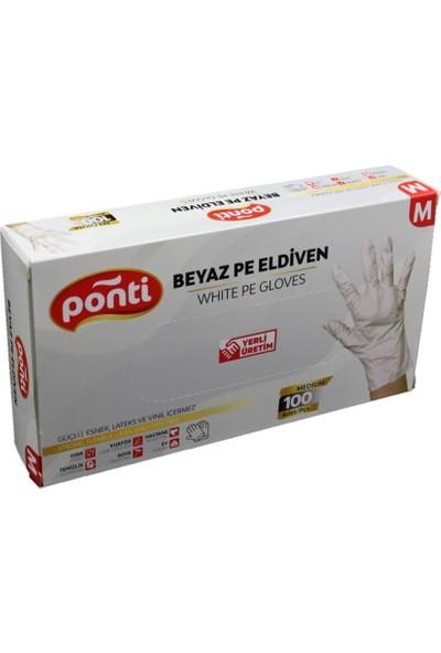 Ponti Gloves Beyaz Pudrasız Tek Kullanımlık Pe Eldiven 100'LÜ Medium