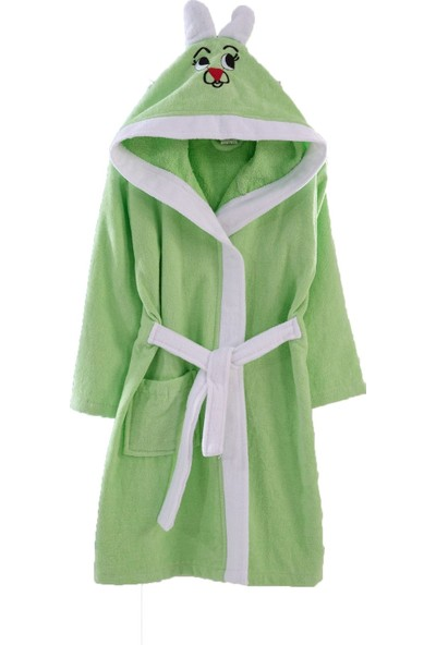 Elmira Textile Elmira Kulaklı %100 Pamuklu Bebek Bornozu 0-3 Yaş 1-2 Yaş Yeşil