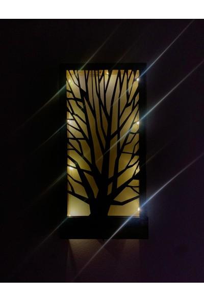 Msagwoods Ledli Ağaç Desenli Doğal Ahşap Duvar Dekoru Işıklı Tablo