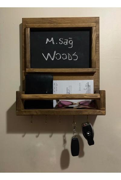 Msagwoods Doğal Ahşap Aa Masif Panel Anahtar Askısı Yazı Tahtası Not Panosu Kapı Önü-Tebeşir Tahtası-Isimlik