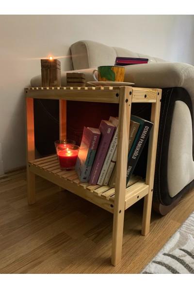 Msagwoods Aa Kalite Doğal Masif Kitaplık 2 Katlı Raf Çiçeklik Oturma Odası Havluluk Ev Hediyesi Yan Sehpa