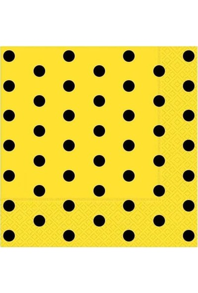 Kullanatparty Puantiyeli Kağıt Peçete 33 X33 cm 20 Adet Sarı Siyah Puantiyeli