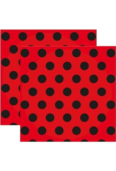 Kullanatparty Puantiyeli Kağıt Peçete 33 X33 cm 20 Adet Kırmızı Siyah Puantiyeli