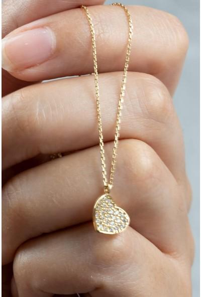 İdeal Sarraf 14 Ayar Altın Minik Kalp Taşlı Kolye