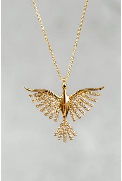 İdeal Sarraf 14 Ayar Altın Taşlı Kuş Kolye 3 gr
