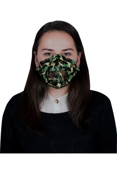 3nnn N95 / Ffp2 Kamuflaj Yeşil Desenli Full Ultrasonic Maske ( 10 Adet )