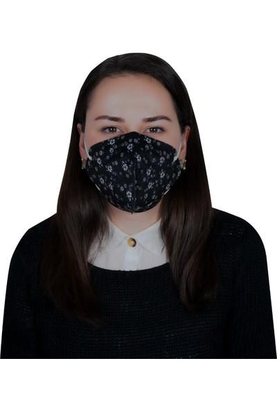 3nnn N95 / Ffp2 Siyah Çiçek Desenli Full Ultrasonic Maske 5' li