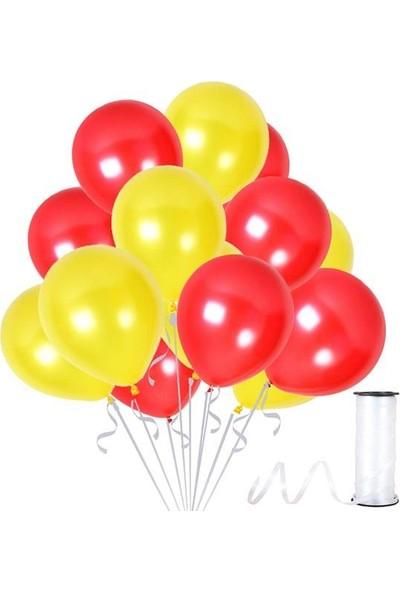 Kullanatparty 30 Adet Metalik Balon Rafya Hediyeli Sarı-Kırmızı