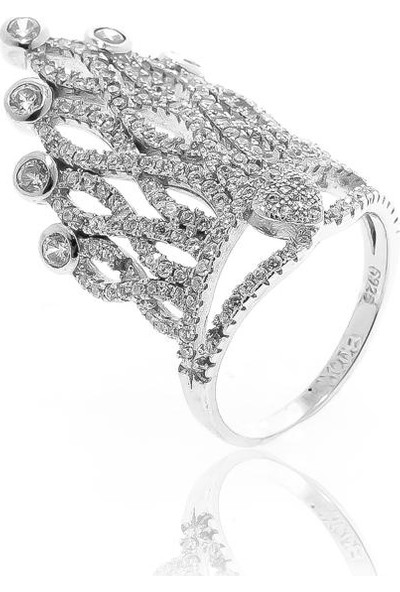 Glint Point Taç Model Kalpli Gümüş Yüzük