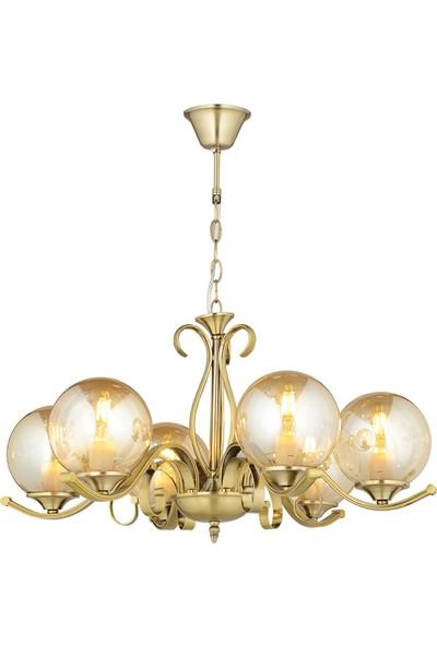 Luna Lighting Modern Lüx Gold Prinç Kollu 6'lı Avize
