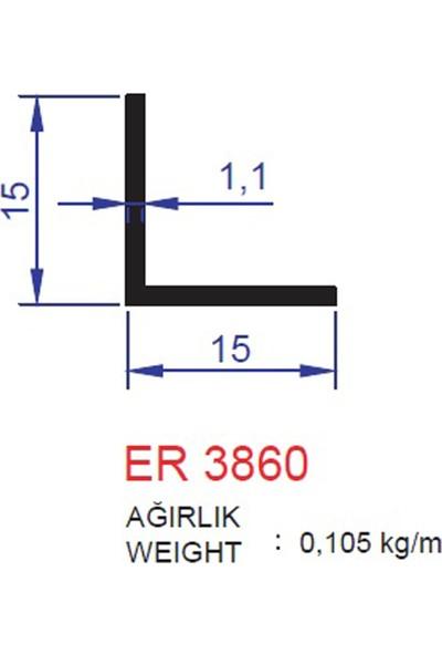 Ersaş Alüminyum '' L '' 15X15MM Köşebent Profili Er 3860 Eloksal Mat 2 Adet 3 Metre