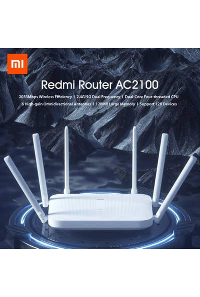 Redmi Yönlendirici AC2100 2.4GHz 5GHz 2033MBPS 6 Anten (Yurt Dışından)