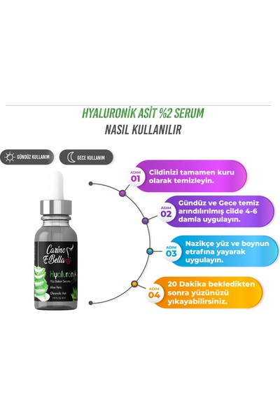 Carino E Bella C Vitamini Serum %20 - Hyaluronik Asit Serum %2 Black 30 ml